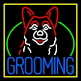 Dog Grooming Yellow Border LED Neon Sign