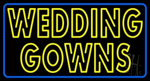 Double Stroke Wedding Gowns Blue Border LED Neon Sign