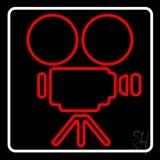 Movie Camera White Border LED Neon Sign