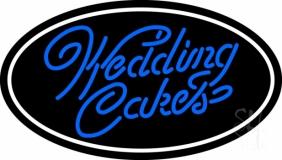 Oval Blue Wedding Cakes Cursive LED Neon Sign