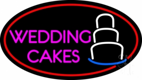 Oval Pink Wedding Cakes LED Neon Sign