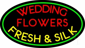 Oval Wedding Flowers LED Neon Sign
