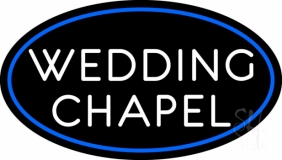 Oval White Wedding Chapel LED Neon Sign