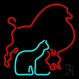 Red Poodle Dog Cat Logo LED Neon Sign
