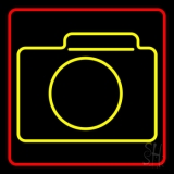 Turquoise Colored Camera Symbol LED Neon Sign