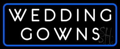 Wedding Gowns Blue Border LED Neon Sign
