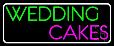White Border Wedding Cakes LED Neon Sign