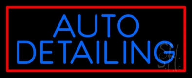 Auto Detailing Red Border LED Neon Sign