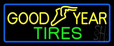 Goodyear Tires Blue Border LED Neon Sign