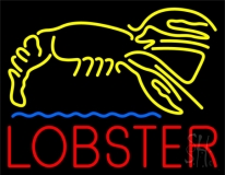 Lobster Logo Blue Line LED Neon Sign