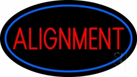 Red Alignment Blue Oval LED Neon Sign