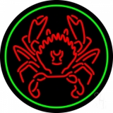 Red Crab Green Circle LED Neon Sign