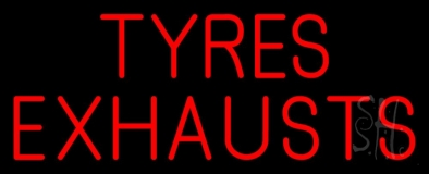 Red Tyres Exhausts 2 LED Neon Sign