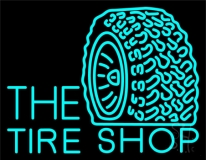 The Tire Shop Turquoise Logo LED Neon Sign