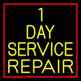 1 Day Service Repair Red Border LED Neon Sign