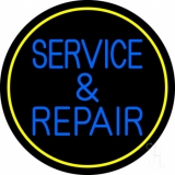 Blue Service And Repair Yellow Border LED Neon Sign