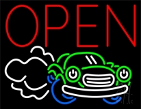 Car Logo Red Open LED Neon Sign