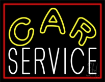 Car Service Red Border LED Neon Sign