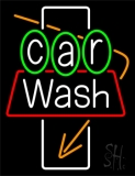 White Car Wash Orange Arrow LED Neon Sign
