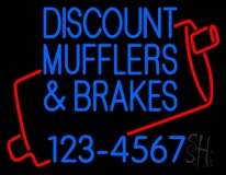 Discount Muflers And Brakes With Phone Number LED Neon Sign