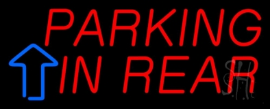 Parking In Rear Block With Arrow LED Neon Sign