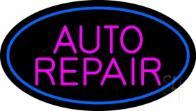 Pink Auto Repair Blue Oval LED Neon Sign