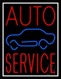 Red Auto Service Car Logo White Border LED Neon Sign