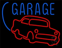 Red Car Logo White Garage LED Neon Sign