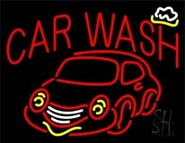 Red Car Wash With Logo LED Neon Sign