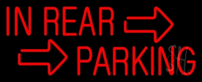 Red In Rear Parking LED Neon Sign
