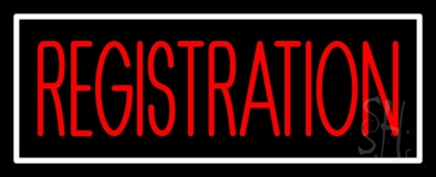 Red Registration White Border LED Neon Sign