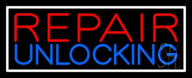 Red Repair Blue Unlocking Block White Border LED Neon Sign