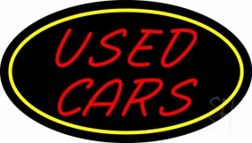 Red Used Cars Yellow Border LED Neon Sign