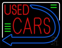 Red Used Cars Blue Arrow LED Neon Sign