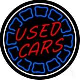 Red Used Cars White Border LED Neon Sign