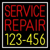 Red Service Repair Yellow Phone Number White Border LED Neon Sign