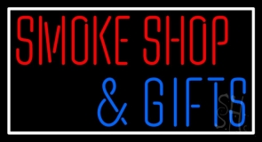 Smoke Shop And Gifts With Border LED Neon Sign
