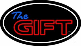 The Gift With White Border LED Neon Sign