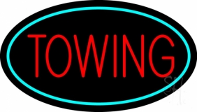 Red Towing Turquoise Border LED Neon Sign