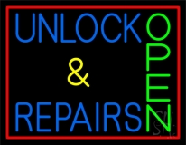 Unlock And Repairs Green Open Red Border LED Neon Sign
