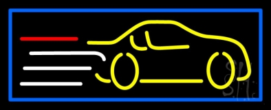 Yellow Car Logo Blue Border LED Neon Sign