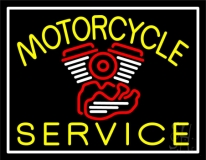 Yellow Motorcycle Service White Border LED Neon Sign