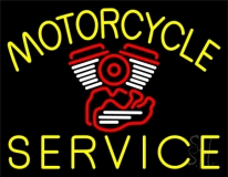 Yellow Motorcycle Service LED Neon Sign