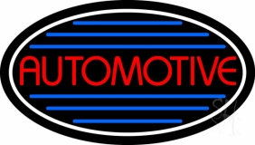 Automotive With Blue Lines LED Neon Sign