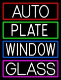 Auto Plate Window Glass With Border LED Neon Sign