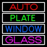 Auto Plate Window Glass With White Border LED Neon Sign