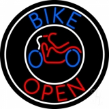 Blue Bike Open With Border LED Neon Sign