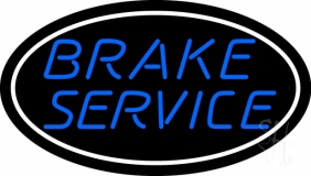 Blue Brake Service Oval LED Neon Sign