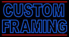 Blue Custom Framing With Lines LED Neon Sign