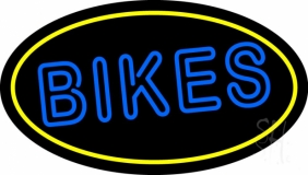 Double Stroke Bikes With Yellow Border LED Neon Sign